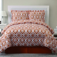 Geneva Home Fashion 8-Piece Ogee Print Biab Reversible Bed in a Bag, King, Orange