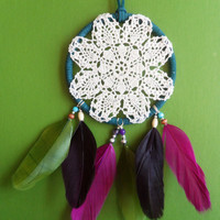 Dream Catcher - Doily - Modern - Teal, Pink, and Green