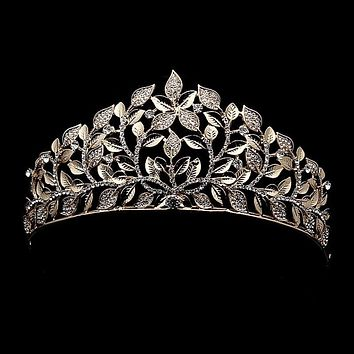 Luxury Vintage Baroque Gold Leaf Crystal Crowns Tiaras Pageant Wedding Hair Accessories