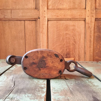 Antique Wood Pulley Wheel, Wood And Iron Block And Tackle, Rustic Industrial Home Decor