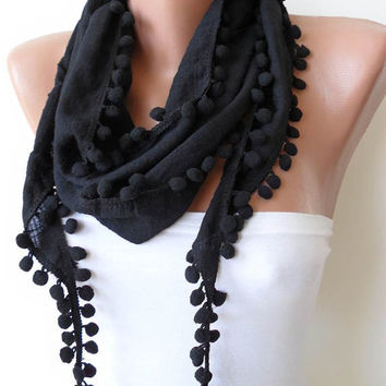 Black Cotton Scarf with Pompom Trim by SwedishShop on Etsy