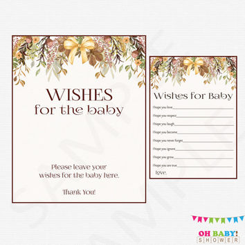 Wishes for Baby Fall Baby Shower Wishes for Baby Girl Boy Floral Rustic Boho Fall Baby Shower Games Activity Instant Digital Download FF01