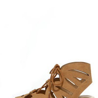 Coast with the Most Tan Lace-Up Sandals