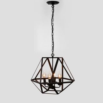 Antique Black Metal Hanging Lantern Candle Chandelier Light with 4 Bulb Sockets Painted Finish