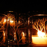 12 Hand Engraved Glass Candle Holders 'Tree Branch' Home Decor Party Favors Holiday Tea Light Holders Spring Weddings