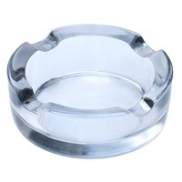 Smoky Casing - Clear Glass Round Ashtray With 4 Cigarette Slots