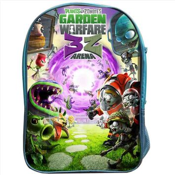 Plants Zombies Backpack Blue Bag Double Layer Custom Made Kids Anime Game PVZ Men Garden Warfare Bags