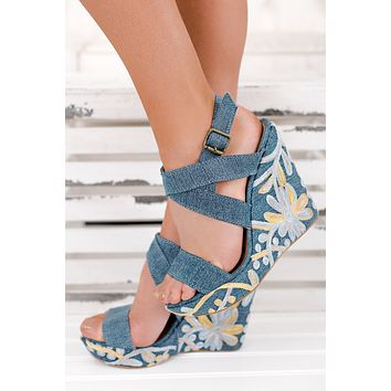 Blue Jean Baby Not Rated Floral Wedges (Blue)