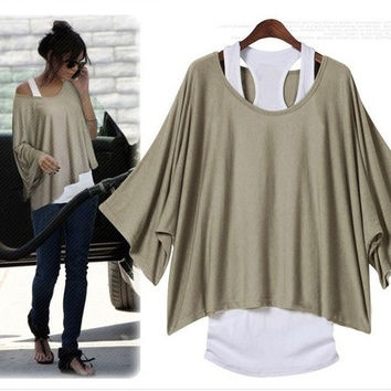 Women Lady Fashion Western Batwing Sleeve Oversized Loose T-shirt TOP Shirt With Vest = 1920367044