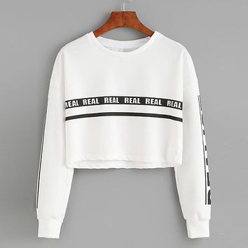 Women'S Tracksuits Weed Clothing Dancer Top Short Girl Pullover Women Seventeen Letters Kpop Felpe Donna Crop Sweatshirt #3601