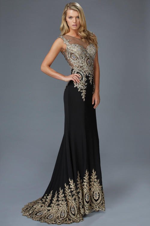 G2166 Metallic Embroidered Jersey High from myprimabella | Prom