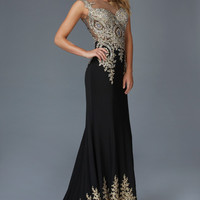 G2166 Metallic Embroidered Jersey High Neck Prom Dress Evening Gown