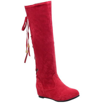 Mid-Calf Boots With Lace-Up and Suede Design