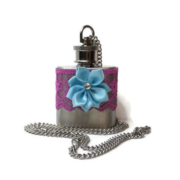 Flask Necklace 1oz - purple lace and blue flower - Conceal under shirt or display awesomeness. Looks like normal necklace when hidden