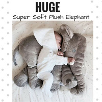 Huge Plush ELEPHANT Soft Toy Pillow Stuffed Animal Cute Cuddly Children Kid Infant Appease Baby Shower Gift Nursery Decoration Free UK Post