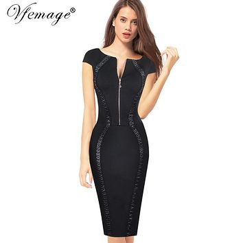 Vfemage Womens Sexy Elegant Vintage Zip Up Slim Wear to Work Office Pinup Casual Party Cocktail Bodycon Wiggle Sheath Dress 4802