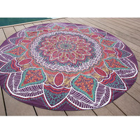 Beautiful Antique Indian Circle Round Chiffon Purple Bohemian Mandala Tapestry Beach Throw Towel Blanket