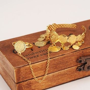 Bangrui New Coin Bangle With Ring Baby/Child,Middle Eastern Jewelry Muslim Islamic Charm Bracelets,Wholesale Coins Money Sign