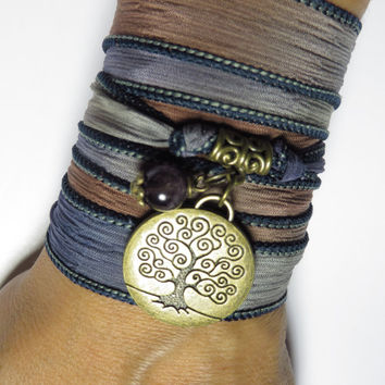 Bohemian Tree Of Life Silk Wrap Bracelet Yoga Jewelry Silk Ribbon Bracelet Amethyst Spiritual Jewelry Arm Band Birthday Unique Gift For Her