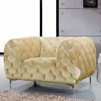 Mercer Beige Velvet Chair