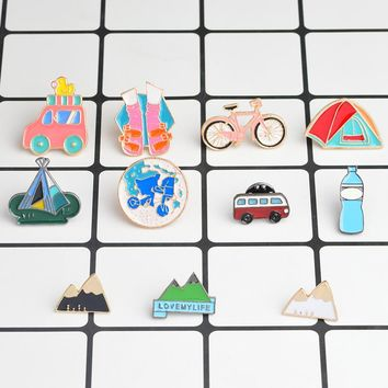 Travel Pins Bus Tent Bicycle Walk Travel the world Mountain Water bottle Brooch for Girl Boy Kids Lapel Pin Badge Travel jewelry