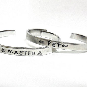 BDSM Master And Pet Hand Stamped Cuff Bracelet Set / Daddy Baby-Girl Cuff Bracelet / S & M Sir Kitten Jewelry