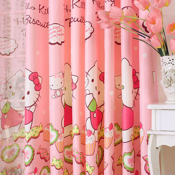 Lovely cartoon chinese 3d curtains for kids living room bedroom pink window curtains for girls room cartoon window curtains 2017