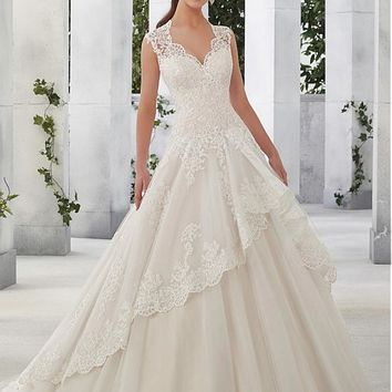 [208.99] Junousque Tulle & Satin V-Neck A-Line Wedding Dresses With Sequined Lace Appliques - dressilyme.com