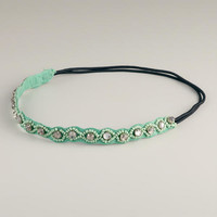 Mint Large Rhinestone Elastic Headband | World Market