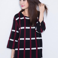 Black Plaid Loose Fitting Dress