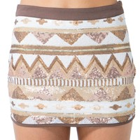 Golden Aztec Mini Skirt