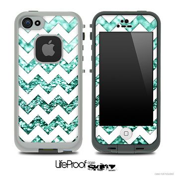 White Chevron Aqua Blue Glimmer Skin for the iPhone 5 or 4/4s LifeProof Case