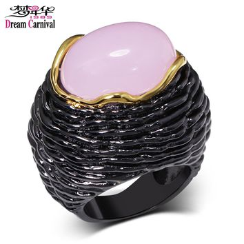 DreamCarnival 1989 Big Engagement Ring for Women Unique Vintage Black Gold Color Light Purple Pink Zircon Mulheres Anillos Mujer