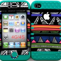 Bumper Case for Apple iphone 4 4G 4S Colorful Tribal Aztec 1 hard plastic snap on over Teal Silicone Gel