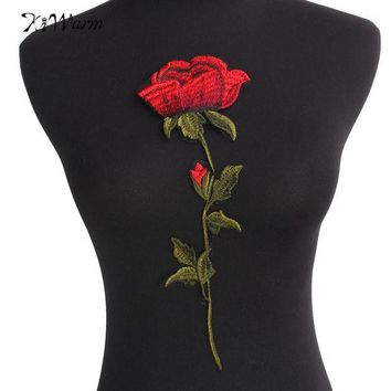 ONETOW Top Quality Rose Flower Patches Iron on Red Embroidered Patch Motif Applique Women DIY Stickers For Jacket Clothes Jeans