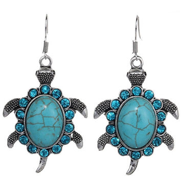 Yazilind Vintage Tibetan Silver Cute Oval Turquoise Blue Crystal Turtle Dangle Earrings Women = 1946860420