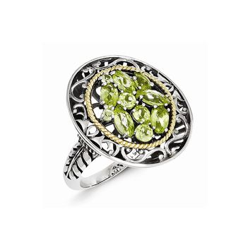 Antique Style Sterling Silver with 14k Gold Peridot Ring