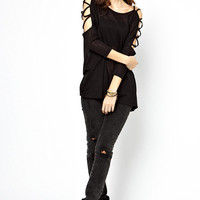 Black Criss-Cross Shoulder Chiffon Blouse