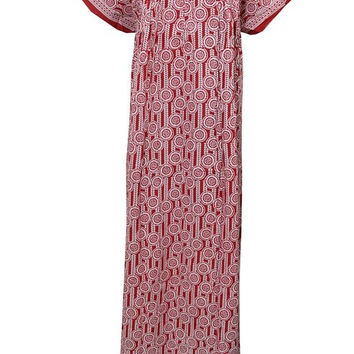Sexy Mumuu Caftan Red Nighty 100% Cotton Batik Kaftan Maxi Dress Xxxl