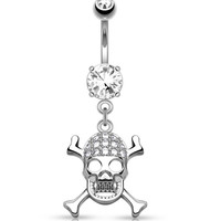 CZ Paved Skull with Cross Bones Dangle 316L Surgical Steel Belly Button Navel Rings