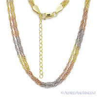 925 Sterling Silver 14k Yellow Rose Gold GP Singapore Link Multi-Chain Necklace
