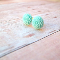 A Q U A - Small Turquoise Teal Tiffany Blue Mum Flower Gold Plated Post Stud Earrings