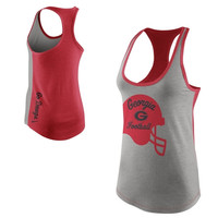 Nike Georgia Bulldogs Ladies Helmet Tri-Blend Tank Top - Gray/Red