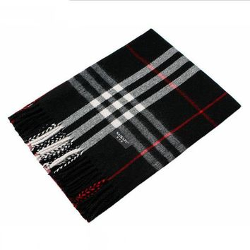 ONETOW Autumn and winter new large plaid cashmere scarf tassels cashmere Black