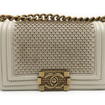 Chanel Calfskin Leather Boy Chanel GHW Chain Shoulder Bag Light Gold 1469