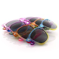 Retro 80s Color Splash Large Horned Rim Sunglasses 8541 [4 Pack]