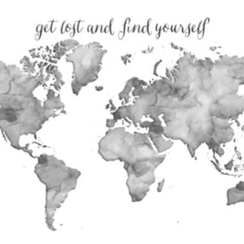 Black and white watercolor world map from society6 black and white watercolor world map get lost and find yourself art print by blursby gumiabroncs Choice Image