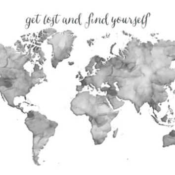 Black and white watercolor world map from society6 black and white watercolor world map get lost and find yourself art print by blursby gumiabroncs