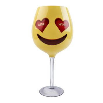 XL Wine Glass - Heart Eyes Emoji