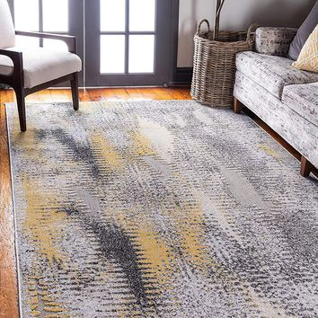 7150 Ivory Abstract Outdoor-Indoor Contemporary Area Rugs